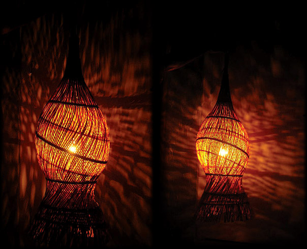 A double-layered overlapping rattan weave wraps the inner rattan ring-structure to form the surface of the l& above & Bamboo Lamps | Selected Studio Works | Art Craft Design and ...